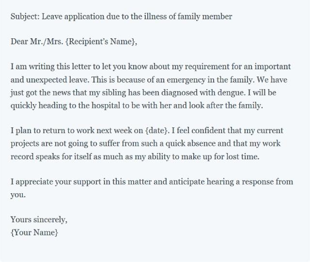 Đơn xin nghỉ phép chăm sóc gia đình