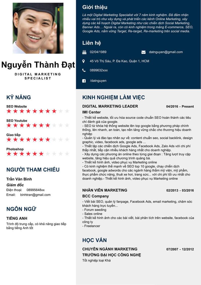 Mẫu CV digital marketing specialist